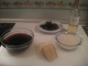 Ingredientes risotto de setas rehidratadas