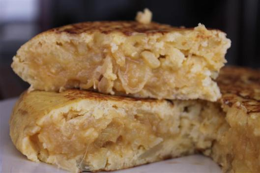 Tortilla de patatas, abierta
