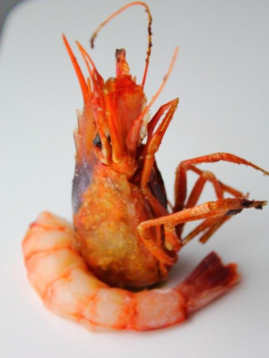 Gamba roja sous-vide con cabeza a la plancha