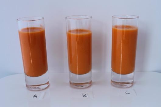 Cata de gazpacho: 3 muestras