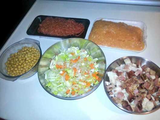 Ingredientes de la segunda cocción del caldo de cocido